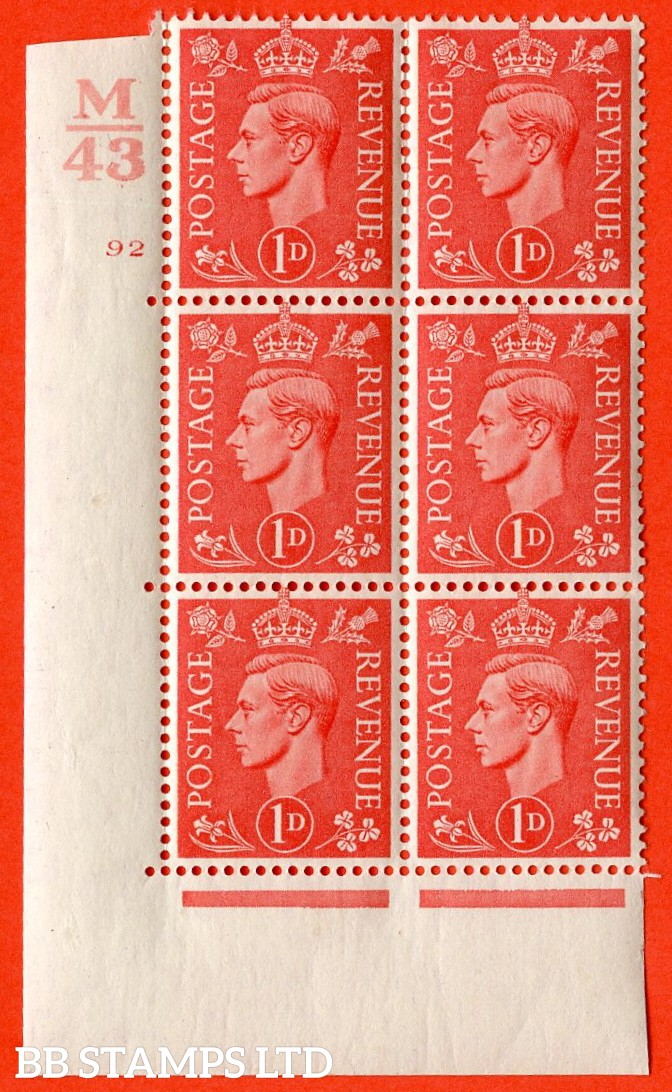 "SG. 486. Q5. 1d Pale scarlet. A fine lightly mounted mint ""  Control M43 cylinder 92 no dot "" control block of 6 with perf type 5 E/I."