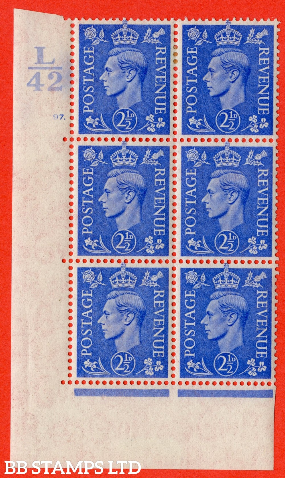 "SG. 489. Q14. 2½d Light ultramarine. A very fine lightly mounted mint ""  Control L42 cylinder 97 dot "" control block of 6 with perf type 5 E/I."