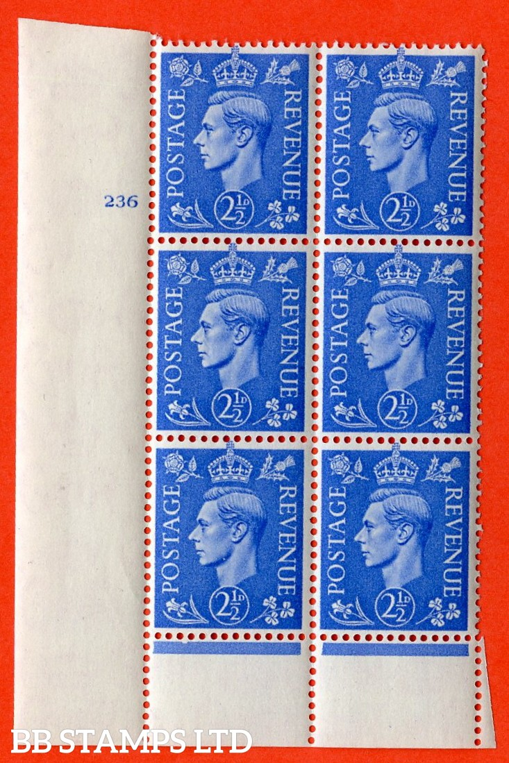 "SG. 489. Q14. 2½d Light ultramarine. A  superb UNMOUNTED MINT ""  No Control cylinder 236 no dot "" control block of 6 with perf type 6 I/P."