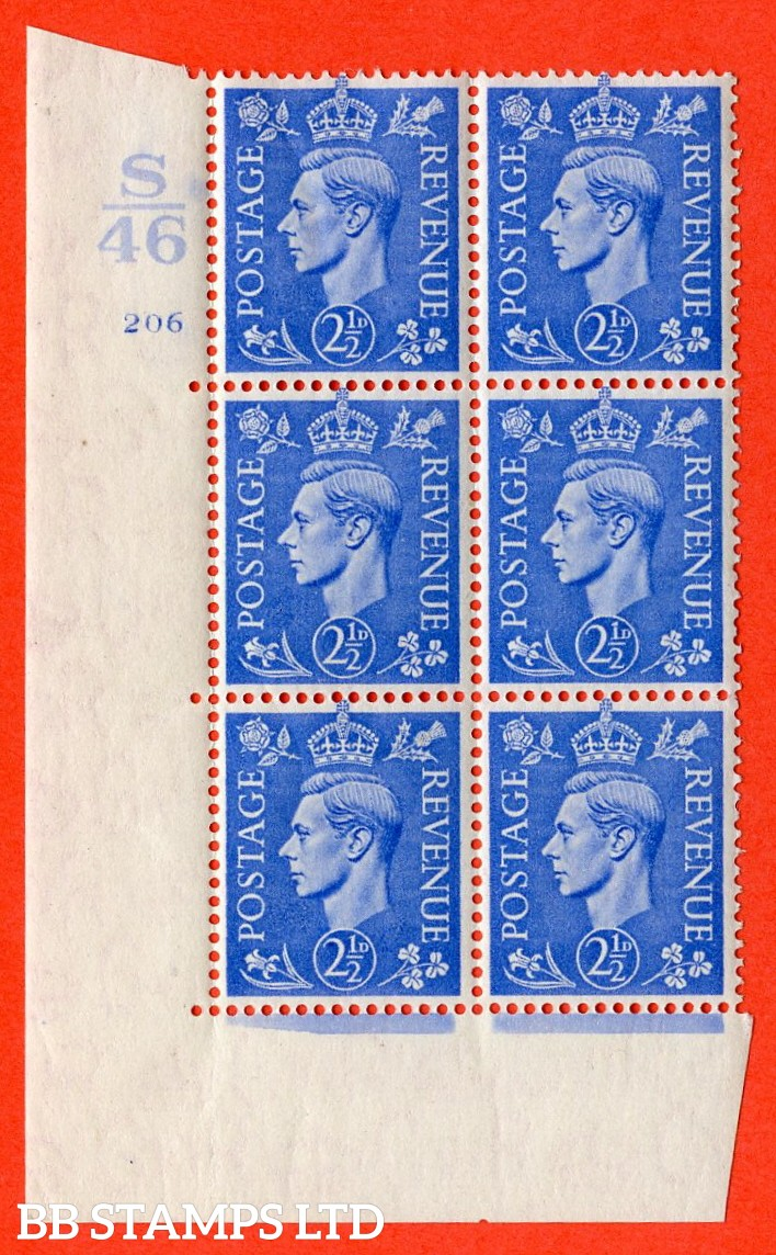 """SG. 489. Q14. 2½d Light ultramarine. A very fine lightly mounted mint """"  Control S46 cylinder 206 no dot """" control block of 6 with perf type 5 E/I."""