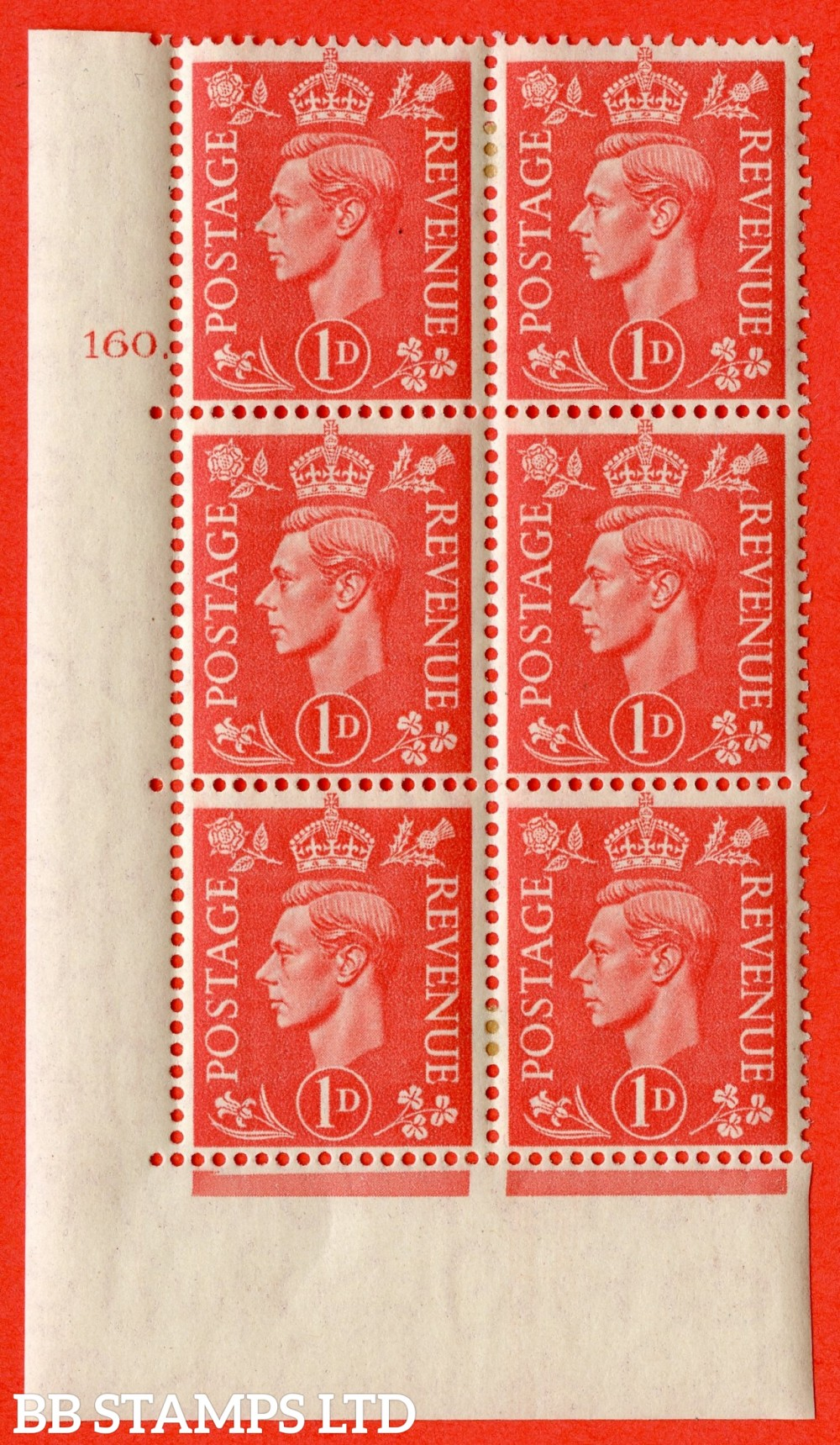 """SG. 486. Q5. 1d Pale scarlet. A fine lightly mounted mint """" Control U47 cylinder 148 dot """" control block of 6 with perf type 5 E/I."""