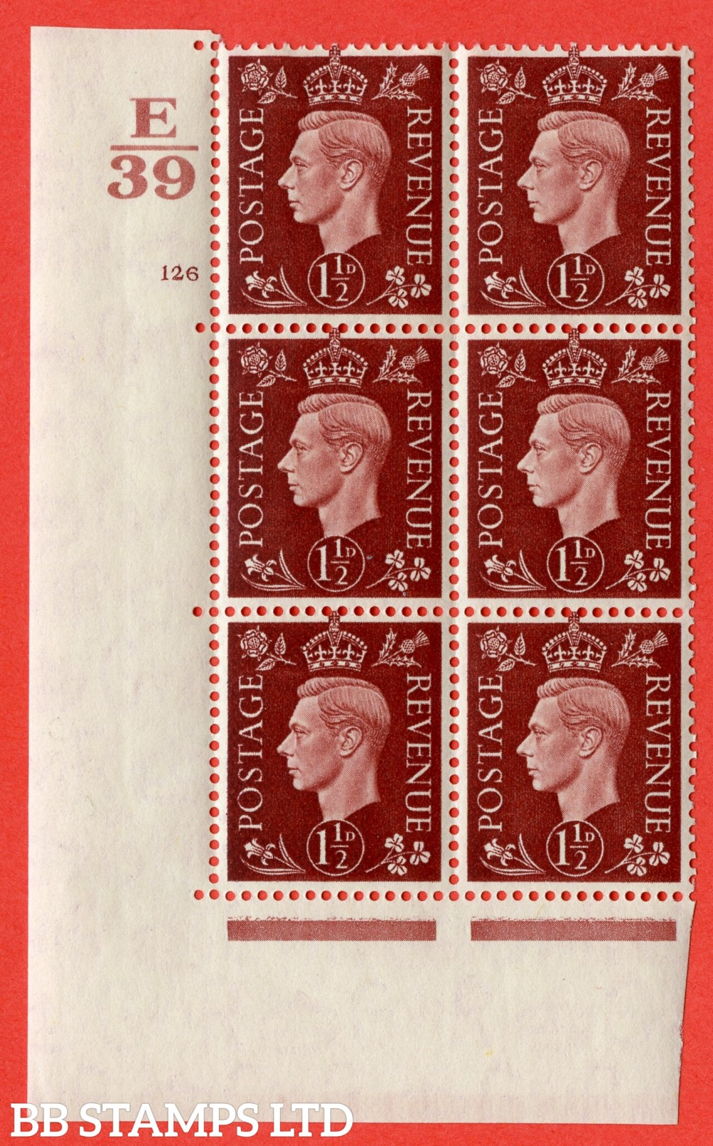 "SG. 464. Q7. 1½d Red-Brown. A superb UNMOUNTED MINT "" Control E39 cylinder 126 no dot "" control block of 6 with perf type 5 E/I. with marginal rule."