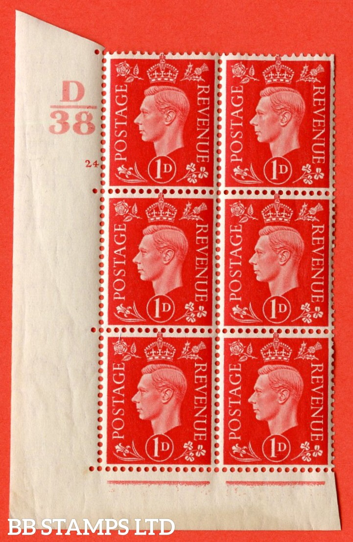 "SG. 463. Q4. 1d Scarlet. A superb UNMOUNTED MINT "" Control D38 cylinder 24 no dot "" block of 6 with perf type 5 E/I with marginal rule."