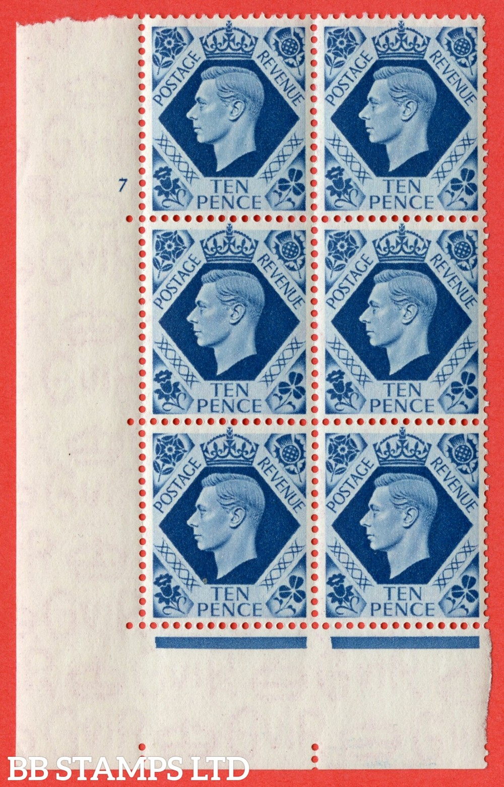 """SG. 474. Q26. 10d Turquoise-Blue. A fine mounted mint """" No Control  cylinder 7 no dot """" control block of 6 with perf type 5 E/I."""