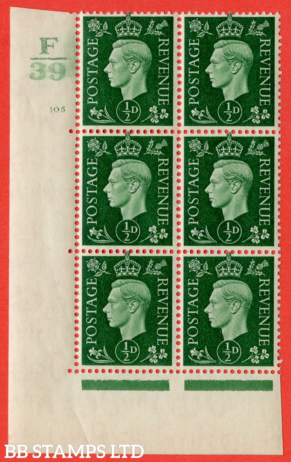 "SG. 462. Q1. ½d Green. A very fine lightly mounted mint "" Control F39 cylinder 105 (iii) no dot "" block of 6 with perf type 5 E/I with marginal rule."