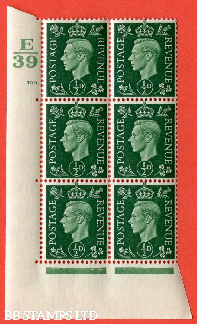 "SG. 462. Q1. ½d Green. A superb UNMOUNTED MINT "" Control E39 cylinder 100 dot "" block of 6 with perf type 5 E/I with marginal rule."