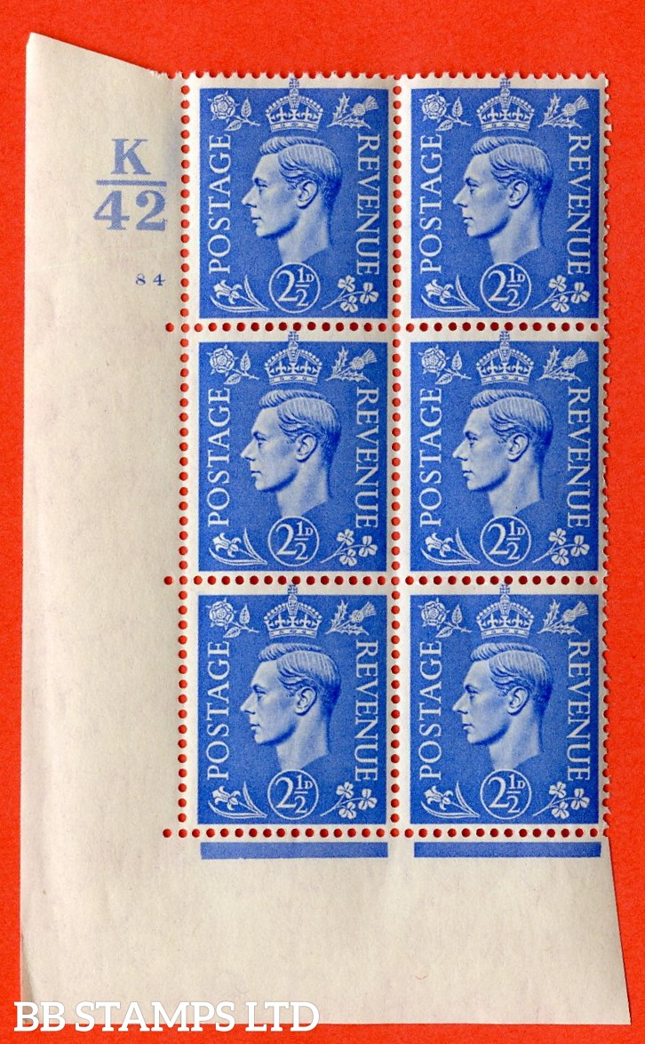 "SG. 489. Q14. 2½d Light ultramarine. A superb UNMOUNTED MINT "" Control K42 cylinder 84 no dot "" control block of 6 with perf type 5 E/I."