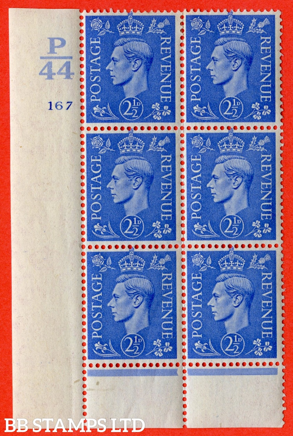 """SG. 489. Q14. 2½d Light ultramarine. A  very fine lightly mounted mint """"  Control P44 cylinder 167 no dot """" control block of 6 with perf type 6 I/E."""