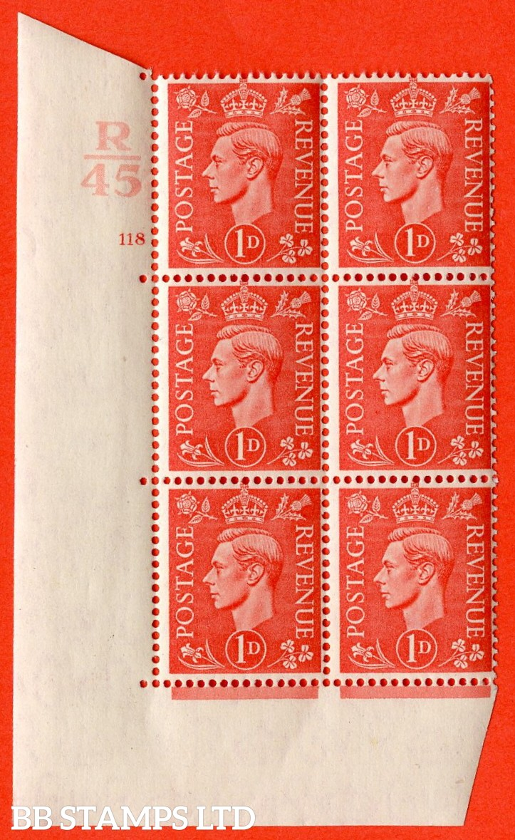 "SG. 486. Q5. 1d Pale scarlet. A superb UNMOUNTED MINT ""  Control R45 cylinder 118 no dot "" control block of 6 with perf type 5 E/I."