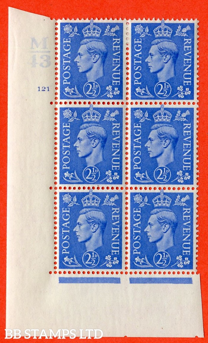 """SG. 489. Q14. 2½d Light ultramarine. A very fine lightly mounted mint """"  Control M43 cylinder 121 no dot """" control block of 6 with perf type 5 E/I."""