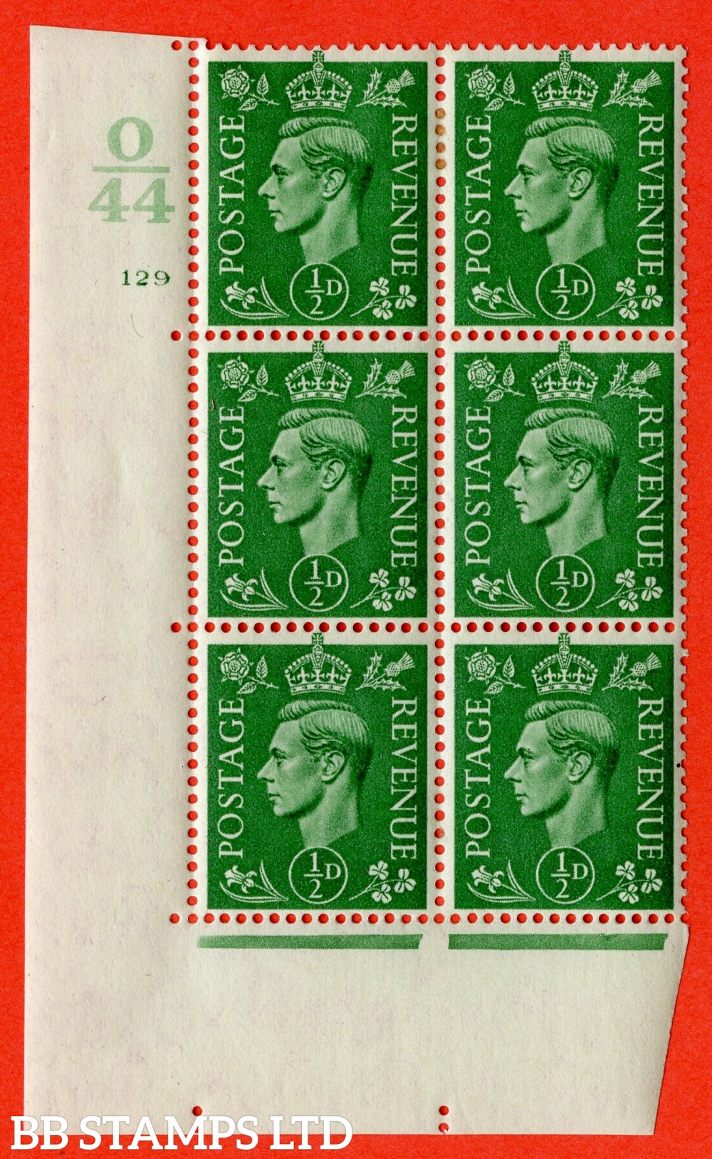 "SG. 485. Q2. ½d Pale Green. A very fine lightly mounted mint "" Control O44 cylinder 129 no dot "" block of 6 with perf type 5 E/I with marginal rule."