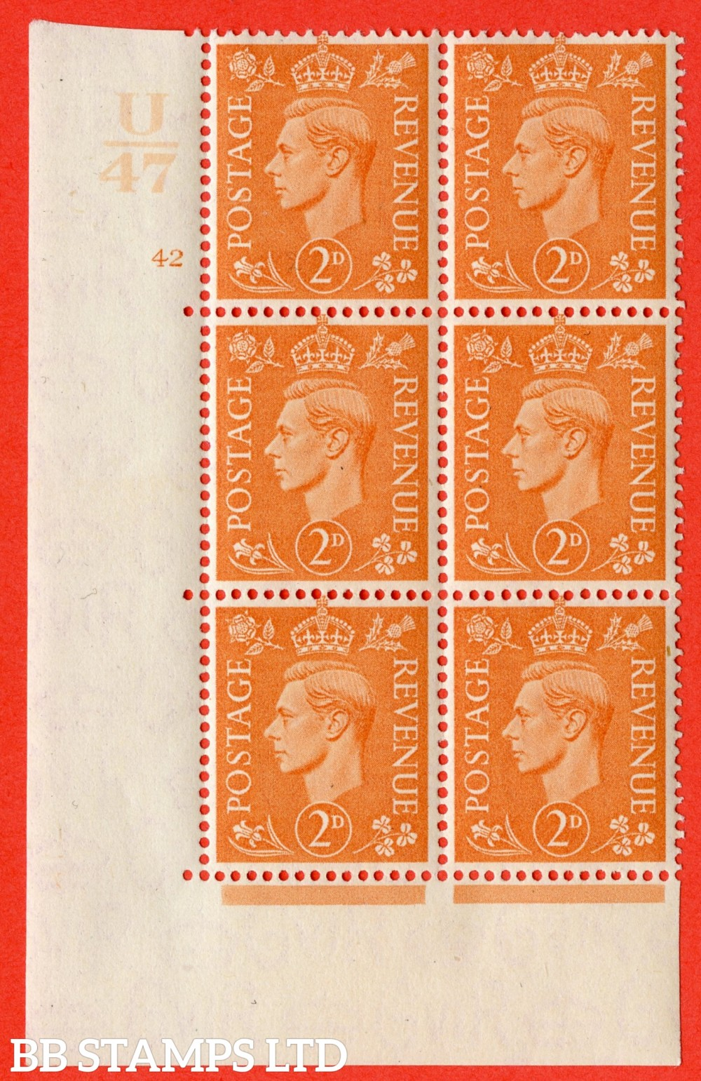 """SG. 488. Q11. 2d Pale Orange. A superb UNMOUNTED MINT """" Control U47 cylinder 42 no dot """" control block of 6 with perf type 5 E/I."""
