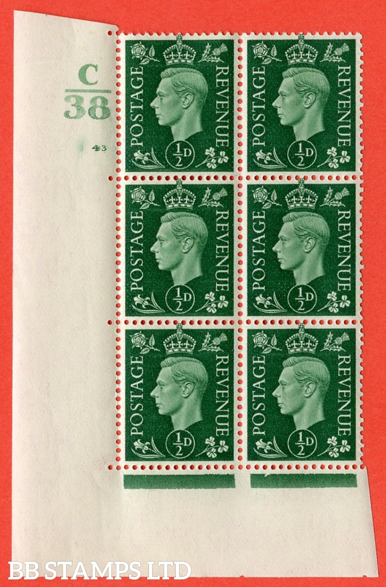 """SG. 462. Q1. ½d Green. A superb UNMOUNTED MINT """" Control C38 cylinder 43 (ii) dot """" block of 6 with perf type 5 E/I with marginal rule."""