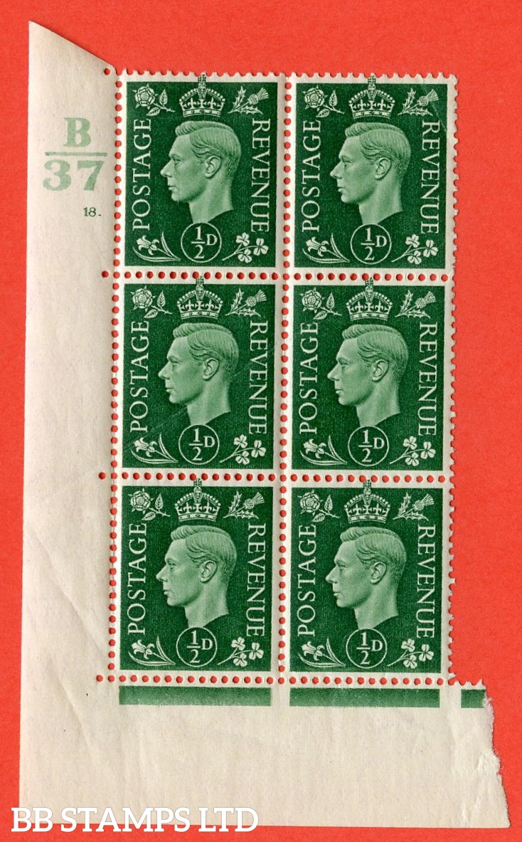 "SG. 462. Q1. ½d Green. A superb UNMOUNTED MINT"" Control B37 cylinder 6 dot "" block of 6 with perf type 5 E/I with marginal rule. Creased."