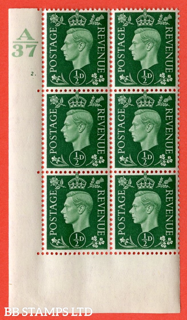 "SG. 462. Q1. ½d Green. A superb UNMOUNTED MINT "" Control A37 cylinder 2 dot "" block of 6 with perf type 5 E/I without marginal rule."