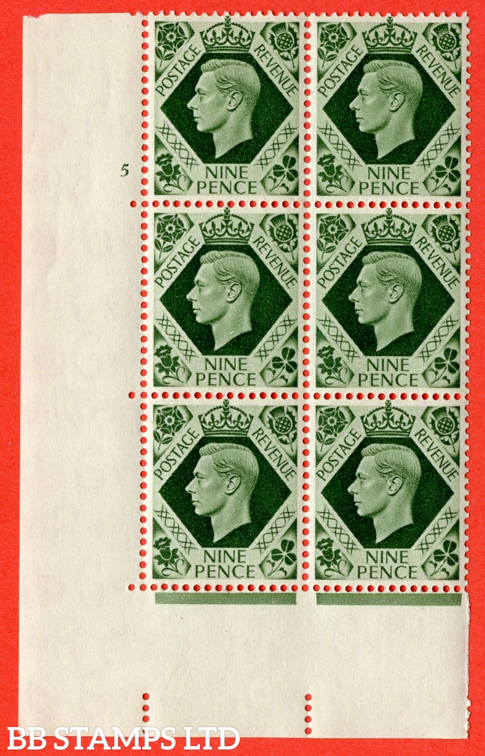 "SG. 473. Q25. 9d Olive-Green. A superb UNMOUNTED MINT "" No Control cylinder 5 no dot "" control block of 6 with perf type 5 E/I."