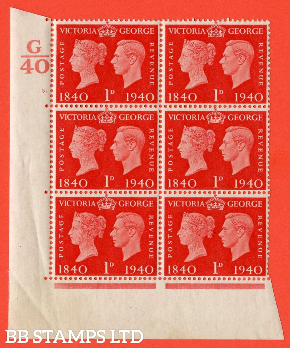 """SG. 480. QCom3. 1d Scarlet. A superb UNMOUNTED MINT """" Control G40 cylinder 3 dot """" block of 6 with perf type 5 E/I. Crease in margin."""