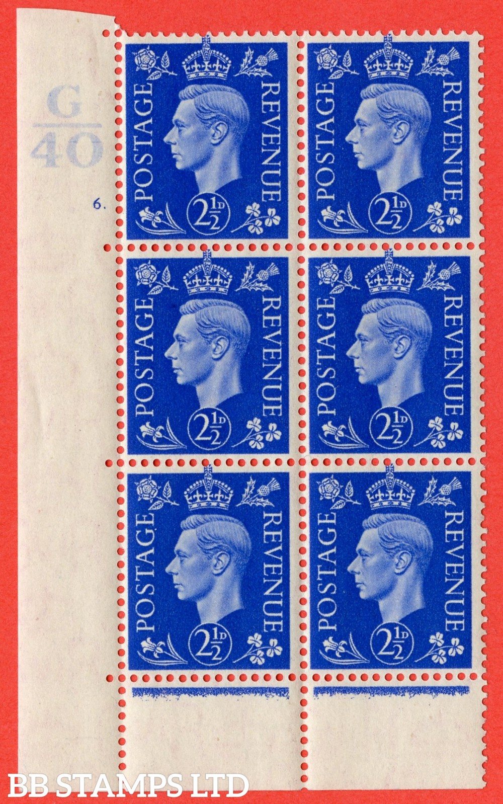 "SG. 466. Q13. 2½d Ultramarine.  A superb UNMOUNTED MINT "" Control G40 cylinder 6(i) dot "" control block of 6 with perf type 6 E/P with marginal rule."