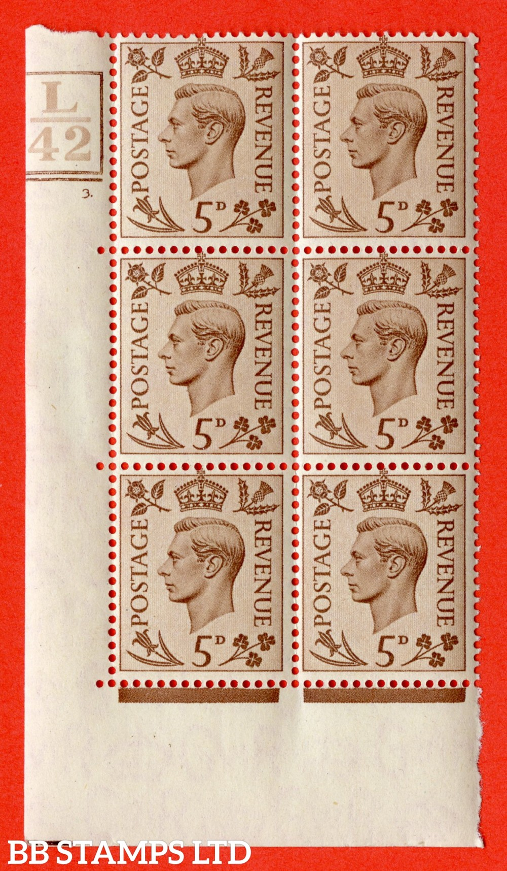 """SG. 469. Q21. 5d Brown. A fine lightly mounted mint. """" Control L42 Box and Bar bottom cylinder 3 dot """" control block of 6 with perf type 5 E/I."""