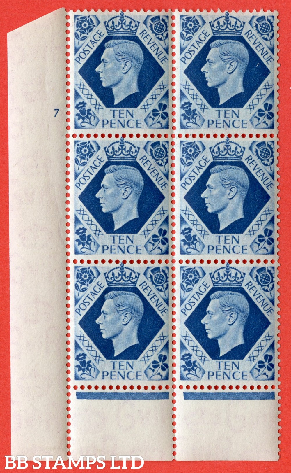 "SG. 474. Q26. 10d Turquoise-Blue. A superb UNMOUNTED MINT "" No Control cylinder 7 no dot "" control block of 6 with perf type 6 I/P."