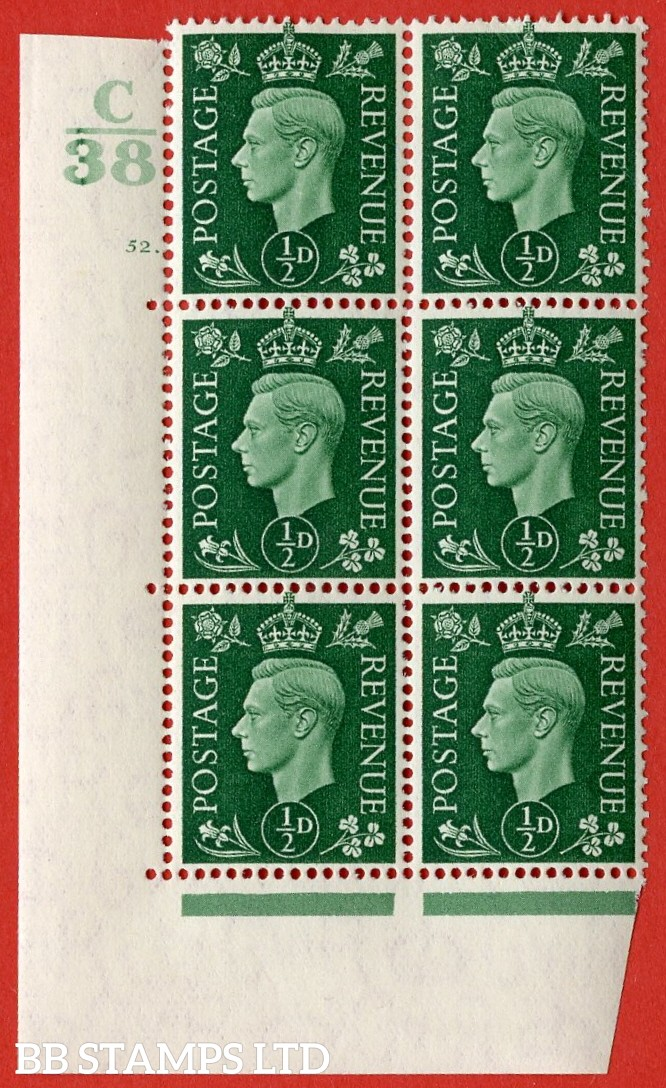 "SG. 462. Q1. ½d Green. A very fine lightly mounted mint "" Control C38 cylinder 52 dot "" block of 6 with perf type 5 E/I with marginal rule"