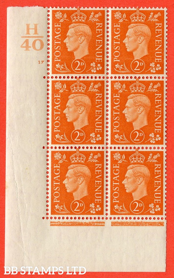 "SG. 465. Q10. 2d Orange. A very fine lightly mounted mint "" Control H40 cylinder 17 no dot "" control block of 6 with perf type 5 E/I. Creased"