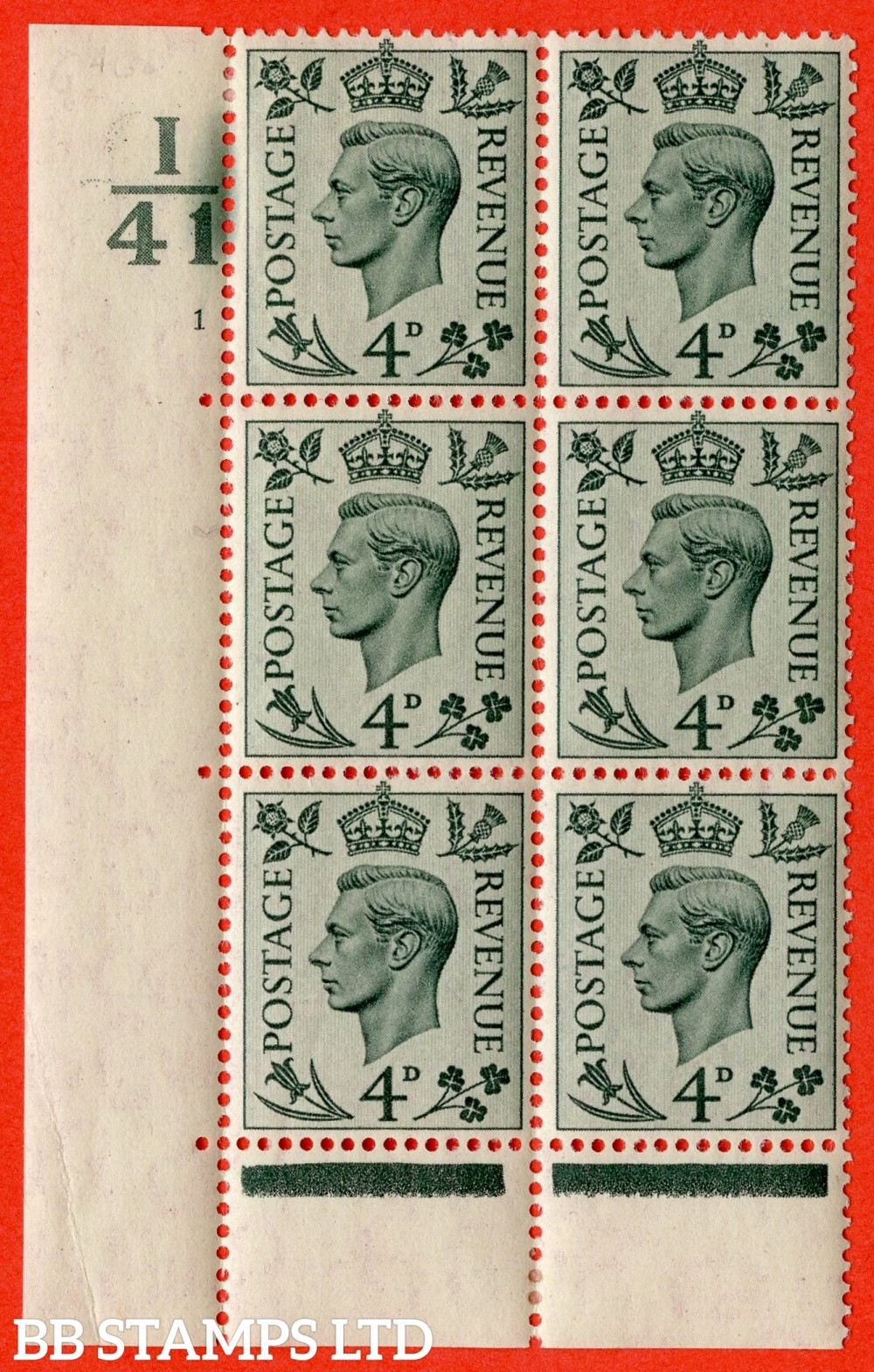"""SG. 468. Q19. 4d Grey-Green. A lightly mounted mint. """" Control K42 bars left and bottom cylinder 1 no dot """" control block of 6 with perf type 6B E/P."""
