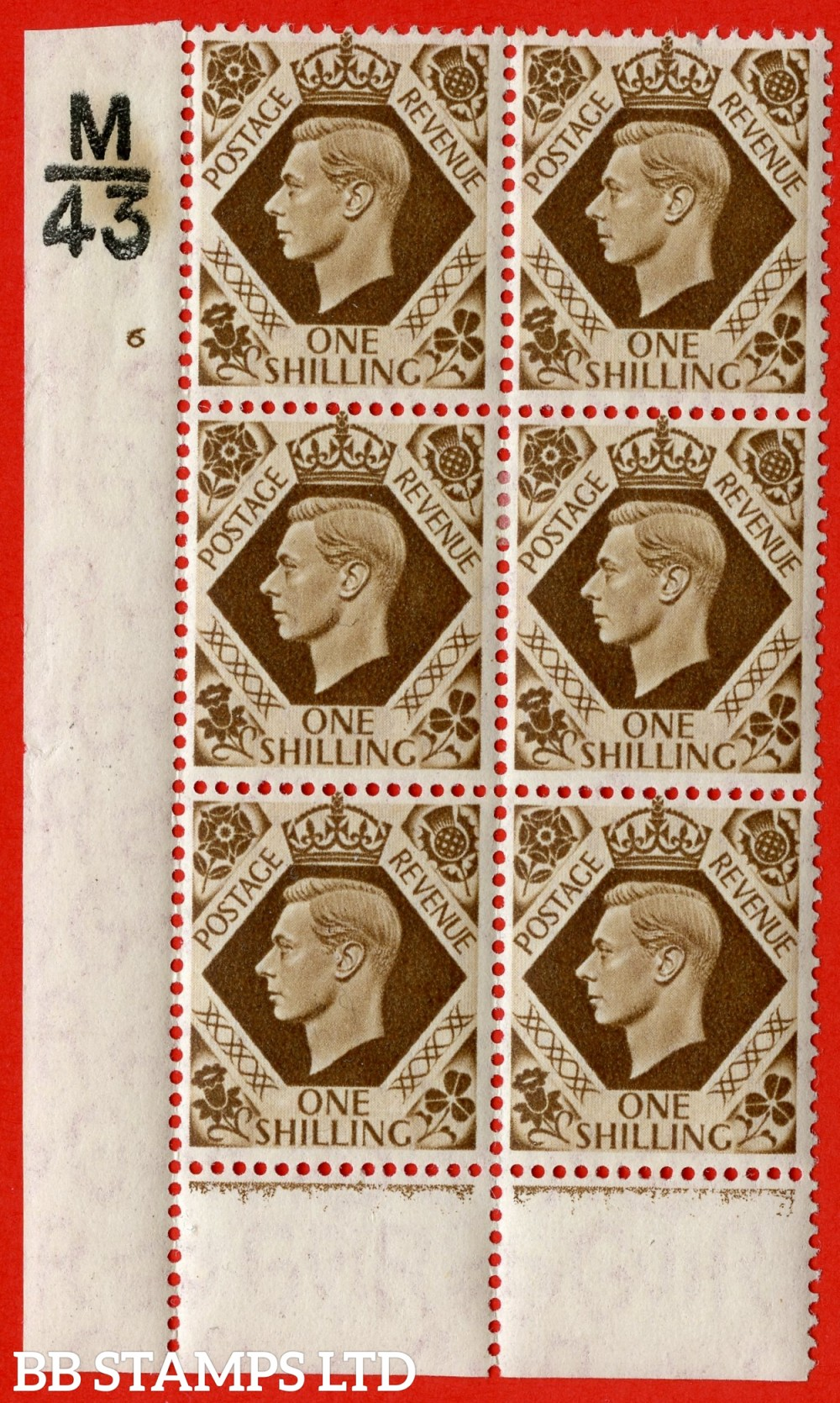 "SG. 475. Q28. a. 1/- Bistre-Brown. A fine lightly mounted mint "" Control M43 cylinder 6 no dot "" control block of 6 with perf type 6 I/P."