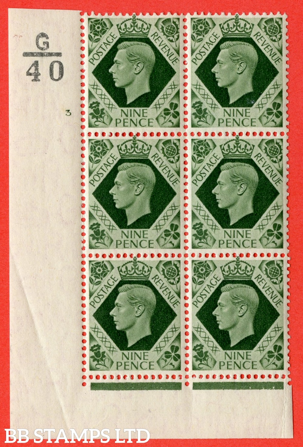 "SG. 473 b. Q25. 9d Olive-Green. A fine lightly mounted mint "" Control G40 cylinder 3 no dot "" control block of 6 with perf type 2 I/E  with listed variety "" Serif touched out "" row 18/1."