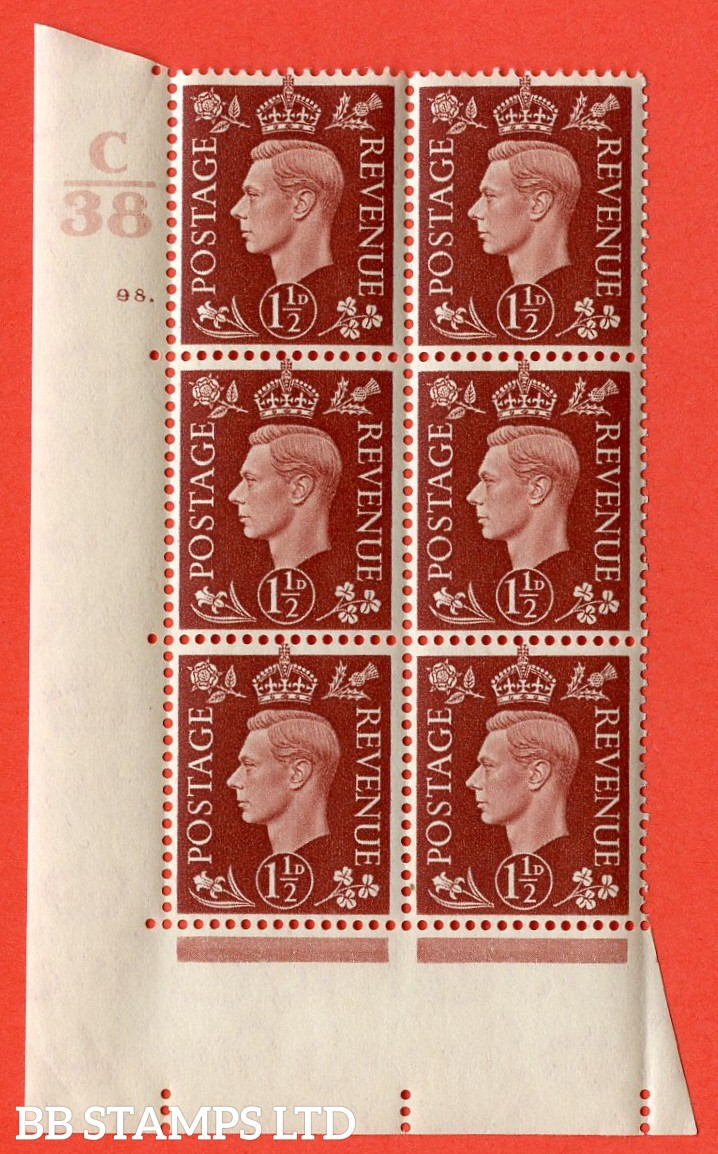 """SG. 464. Q7. 1½d Red-Brown. A superb UNMOUNTED MINT """" Control C38 cylinder 98 dot """" control block of 6 with perf type 5 E/I. with marginal rule."""