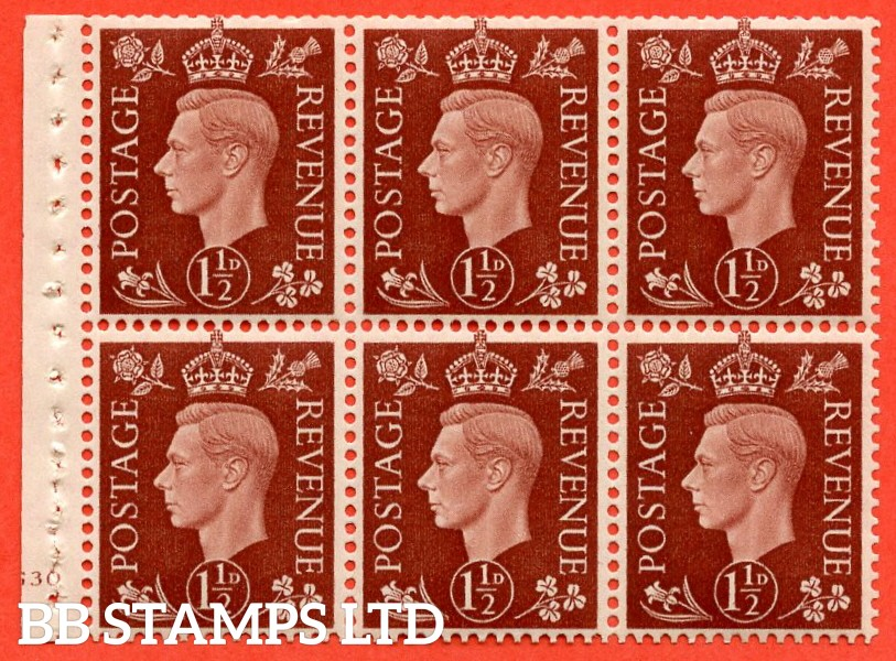 "SG. 464. QB21. 1½d Red - Brown.  A super UNMOUNTED MINT cylinder "" G30 no dot "" complete booklet pane with selvedge. Perf type B3 (I)."