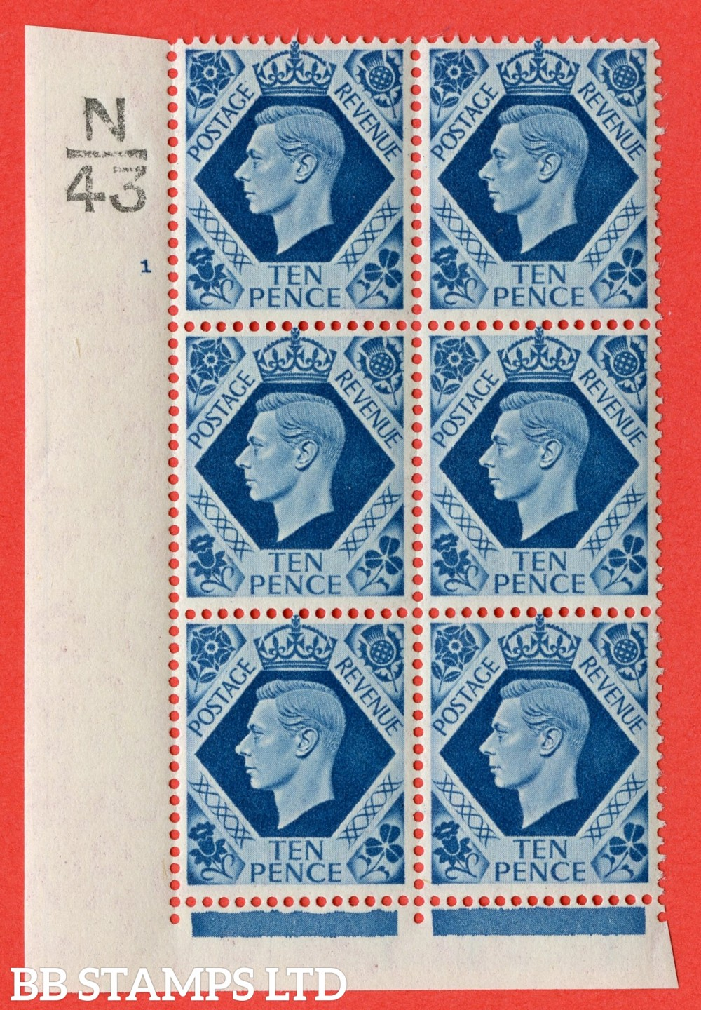 "SG. 474. Q26. 10d Turquoise-Blue. A superb UNMOUNTED MINT "" Control  N43 cylinder 1 no dot "" control block of 6 with perf type 2 I/E."