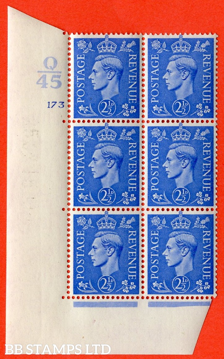 "SG. 489. Q14. 2½d Light ultramarine. A superb UNMOUNTED MINT ""  Control Q45 cylinder 173 no dot "" control block of 6 with perf type 5 E/I."