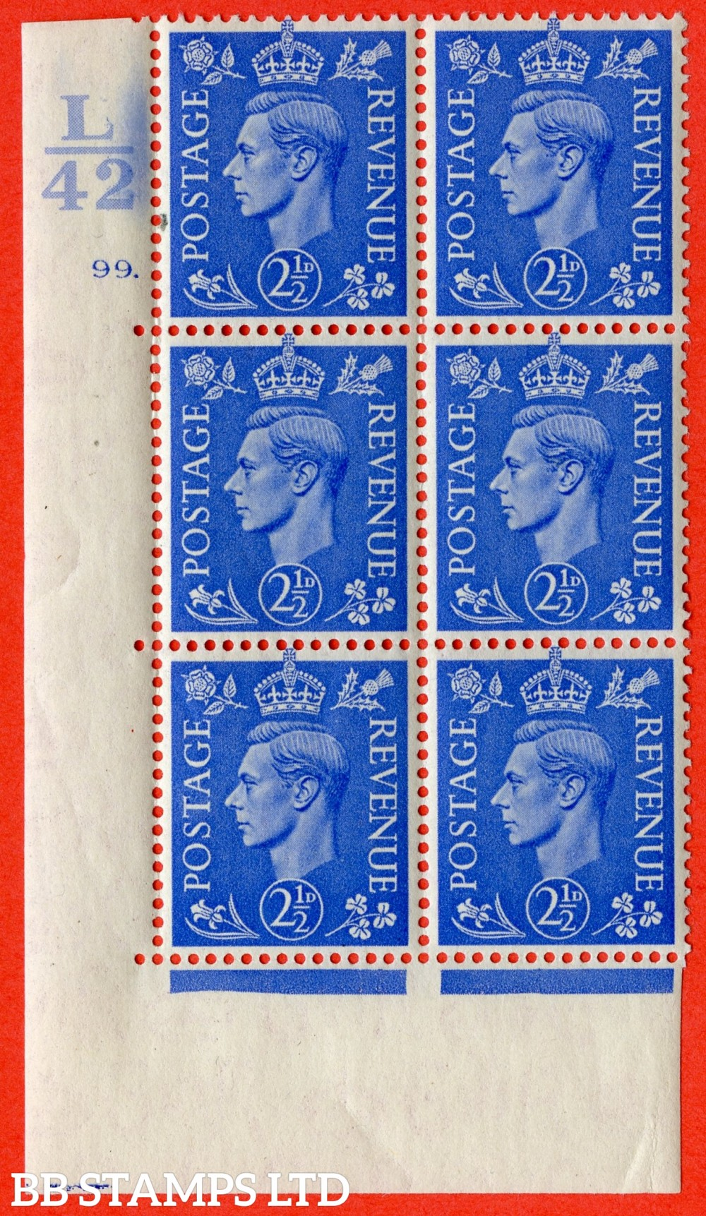 "SG. 489. Q14. 2½d Light ultramarine. A very fine lightly mounted mint ""  Control L42 cylinder 99 dot "" control block of 6 with perf type 5 E/I."