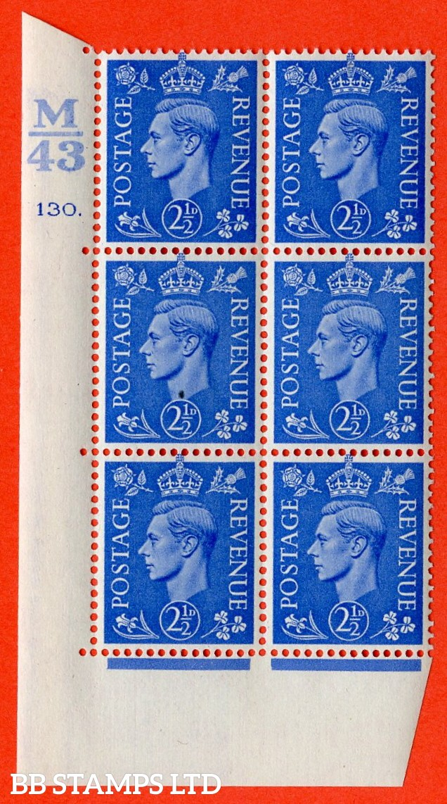 "SG. 489. Q14. 2½d Light ultramarine. A superb UNMOUNTED MINT ""  Control M43 cylinder 130 dot "" control block of 6 with perf type 5 E/I."