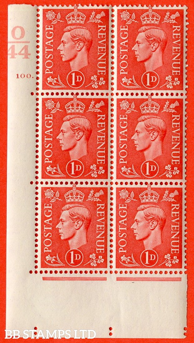 "SG. 486. Q5. 1d Pale scarlet. A superb UNMOUNTED MINT ""  Control O44 cylinder 100 dot "" control block of 6 with perf type 5 E/I."