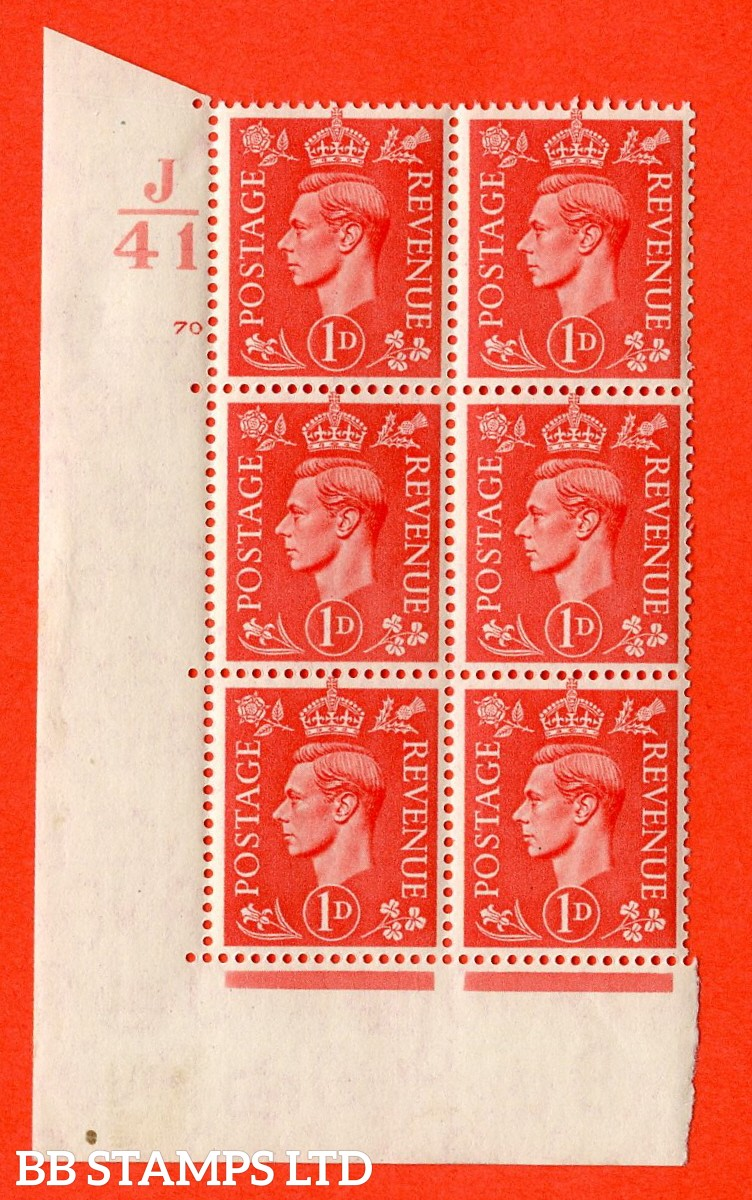 "SG. 486. Q5. 1d Pale scarlet. A very fine lightly mounted mint "" Control J41 cylinder 70 no dot "" control block of 6 with perf type 5 E/I."