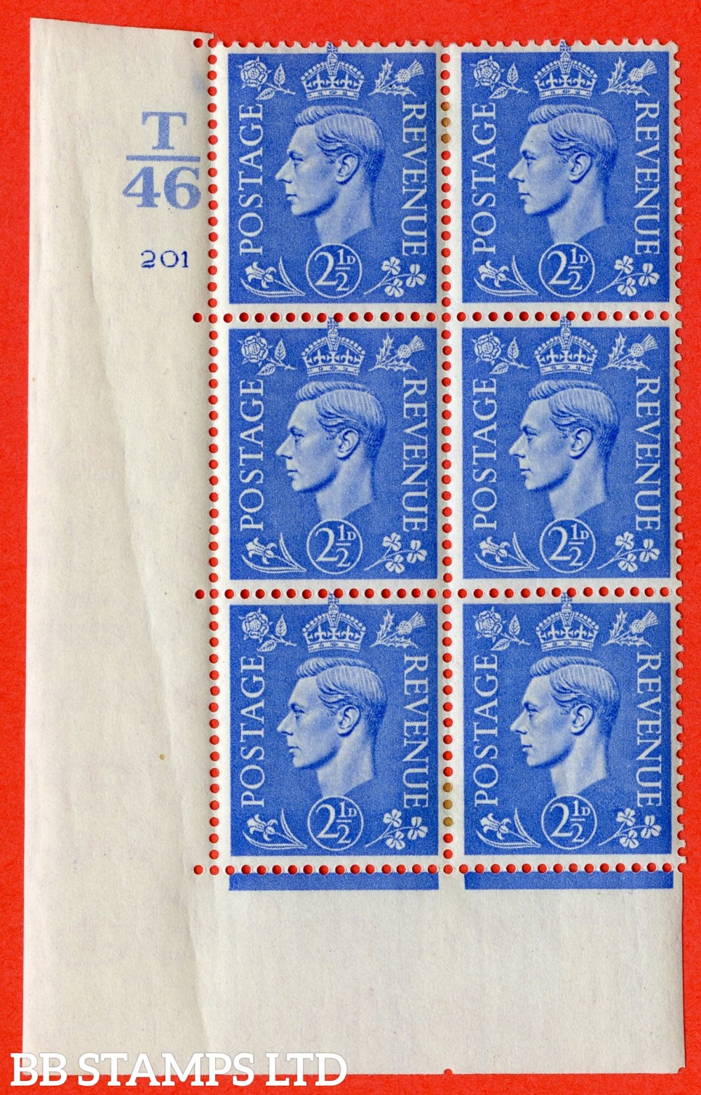 """SG. 489. Q14. 2½d Light ultramarine. A very fine lightly mounted mint """"  Control T46 cylinder 201 no dot """" control block of 6 with perf type 5 E/I. Crease in margin."""
