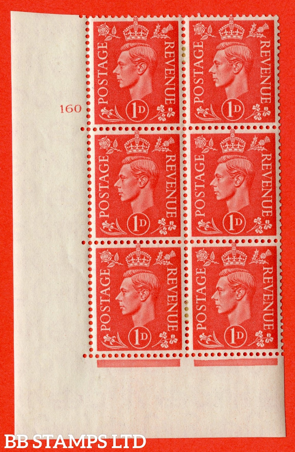 """SG. 486. Q5. 1d Pale scarlet. A fine lightly mounted mint """" No Control cylinder 160 no dot """" control block of 6 with perf type 5 E/I."""