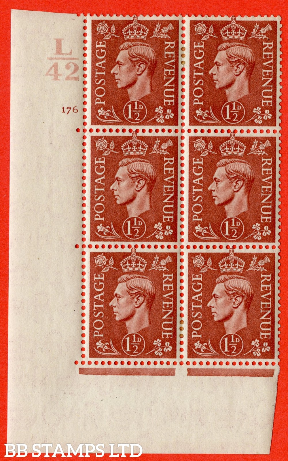 "SG. 487. Q8. 1½d Pale Red-Brown. A fine lightly mounted mint "" Control L42 cylinder 176 no dot "" control block of 6 with perf type 5 E/I."
