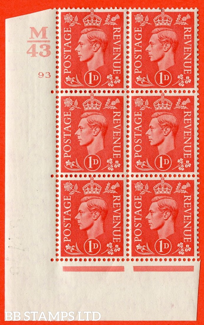 "SG. 486. Q5. 1d Pale scarlet. A fine lightly mounted mint ""  Control M43 cylinder 93 no dot "" control block of 6 with perf type 5 E/I."