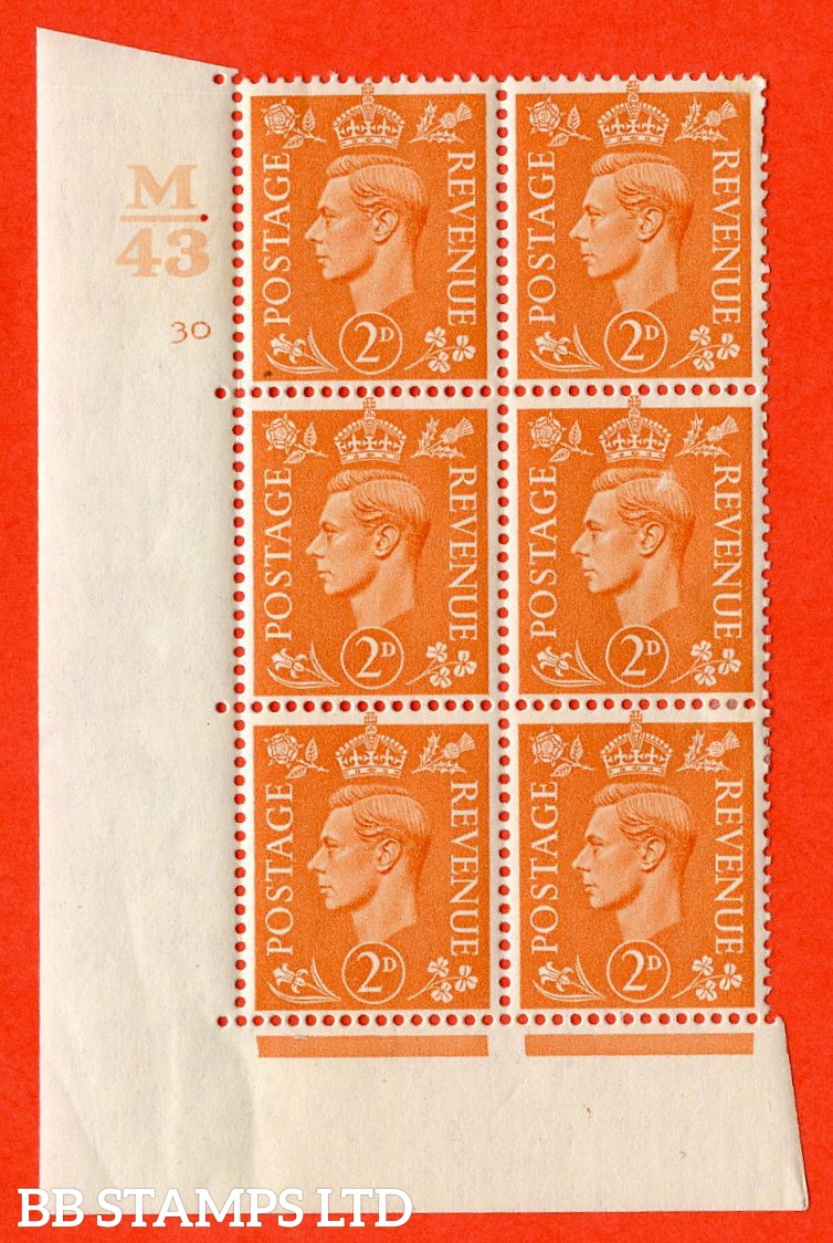 "SG. 488. Q11. 2d Pale Orange. A very fine lightly mounted mint "" Control M43 cylinder 30 no dot "" control block of 6 with perf type 5 E/I."