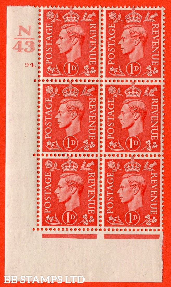 """SG. 486. Q5. 1d Pale scarlet. A fine mounted mint """"  Control N43 cylinder 94 dot """" control block of 6 with perf type 5 E/I."""