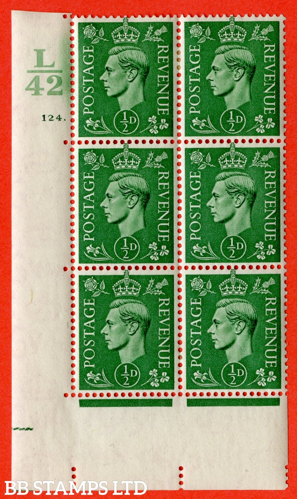 "SG. 485. Q2. ½d Pale Green. A very fine lightly mounted mint "" Control L42 cylinder 124 dot "" block of 6 with perf type 5 E/I with marginal rule."