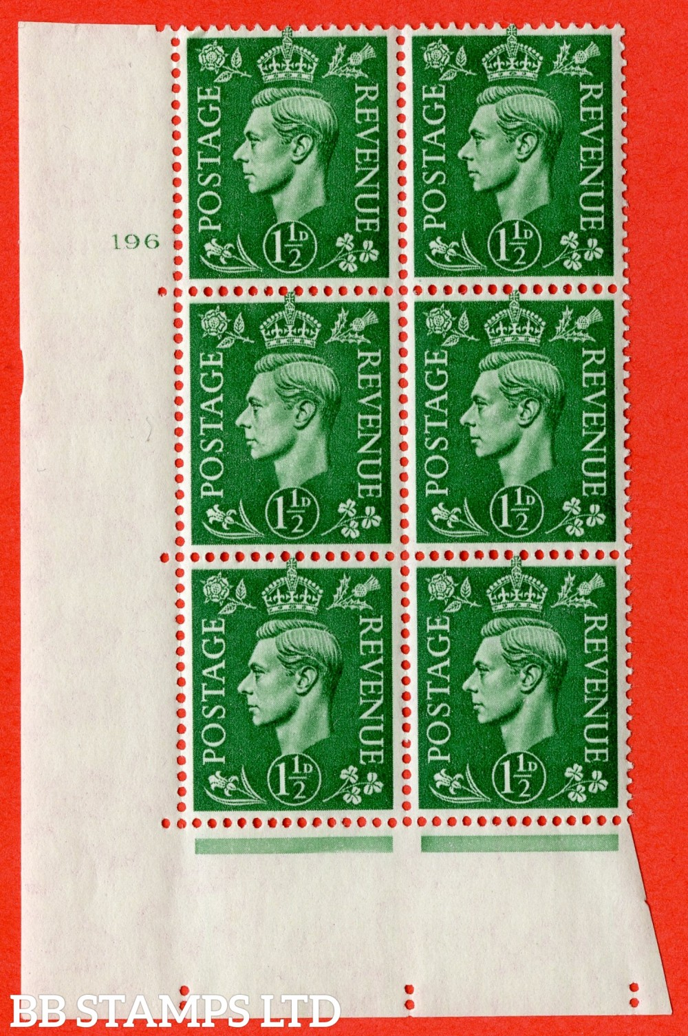 "SG. 505. Q9. 1½d Pale Green. A superb UNMOUNTED MINT "" No Control cylinder 196 no dot "" control block of 6 with perf type 5 E/I."