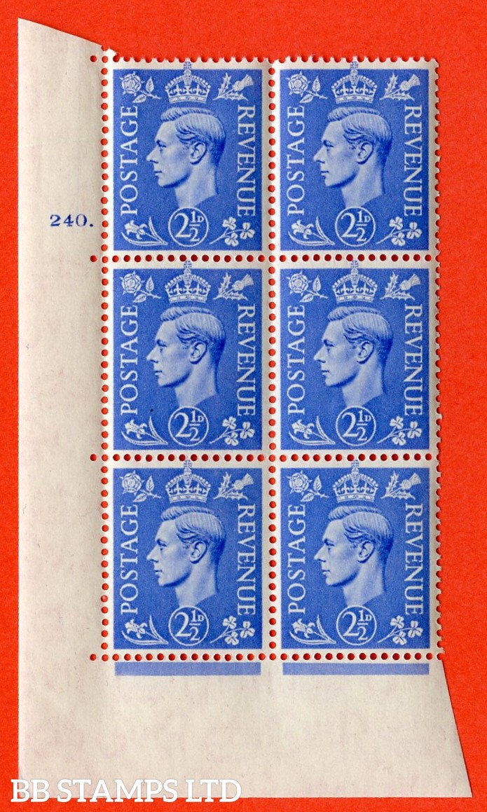 "SG. 489. Q14. 2½d Light ultramarine. A superb UNMOUNTED MINT ""  No Control cylinder 240 dot "" control block of 6 with perf type 5 E/I."