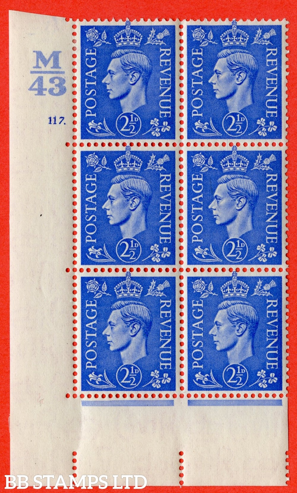 "SG. 489. Q14. 2½d Light ultramarine. A very fine lightly mounted mint ""  Control M43 cylinder 117 dot "" control block of 6 with perf type 5 E/I."