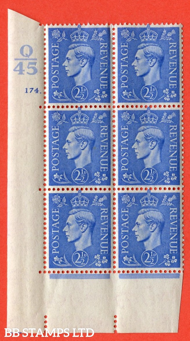 "SG. 489. Q14. 2½d Light ultramarine. A superb UNMOUNTED MINT ""  Control Q45 cylinder 174 dot "" control block of 6 with perf type 5 E/I."