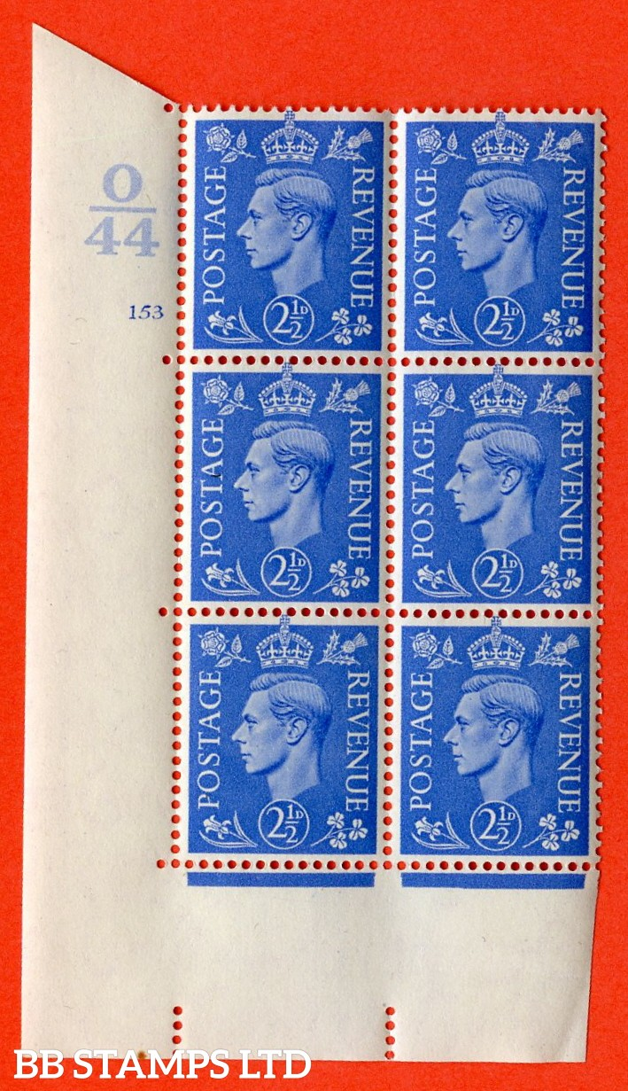 "SG. 489. Q14. 2½d Light ultramarine. A superb UNMOUNTED MINT "" Control O44 cylinder 153 no dot "" control block of 6 with perf type 5 E/I."