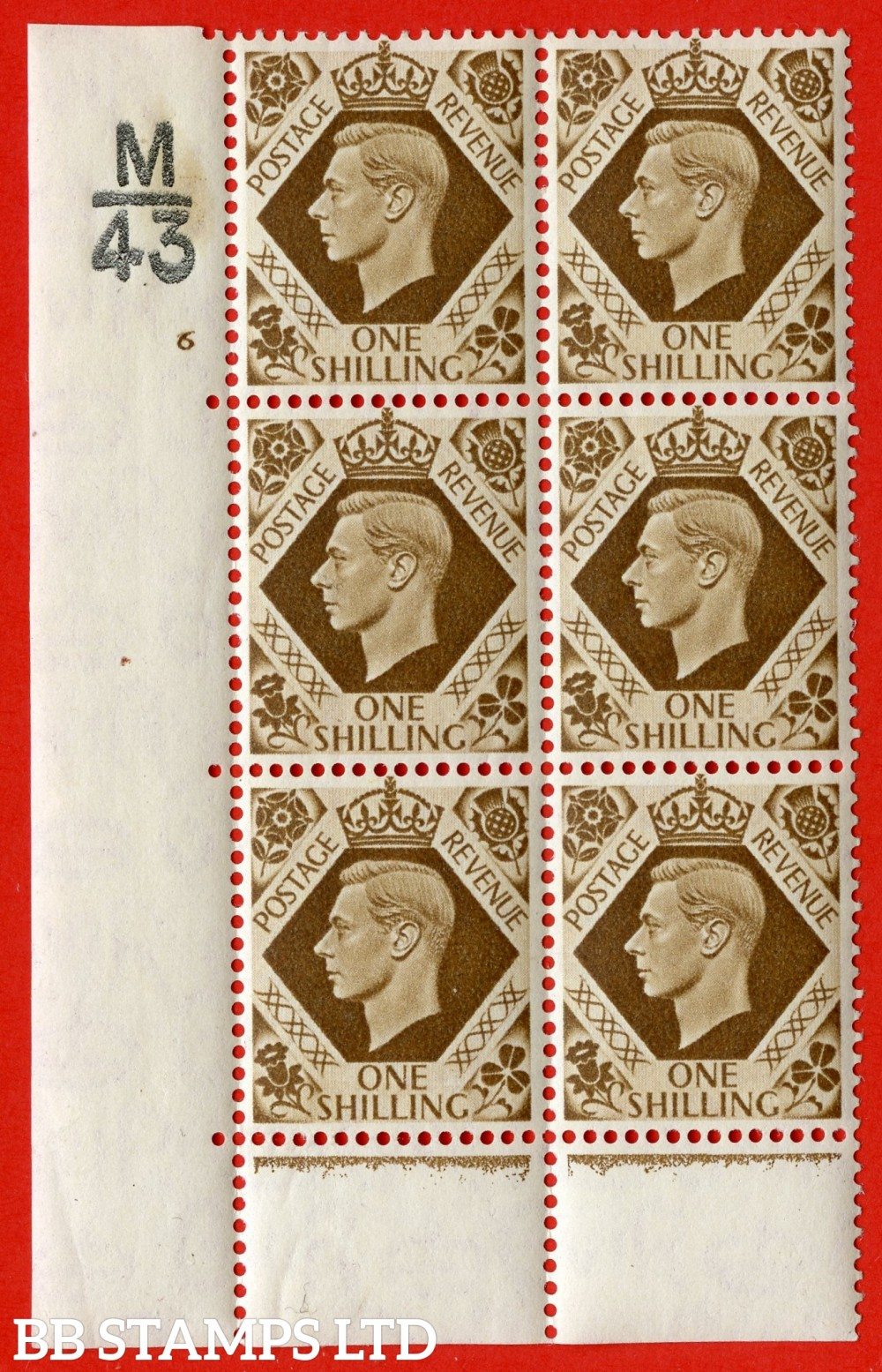 "SG. 475. Q28. a. 1/- Bistre-Brown. A fine lightly mounted mint "" Control M43 cylinder 6 no dot "" control block of 6 with perf type 6B E/P."